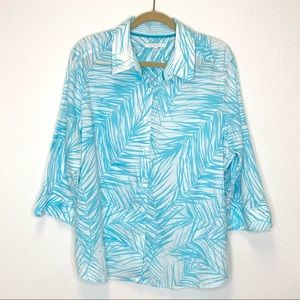 Foxcroft Button Down Shirt in White/Turquoise 20W